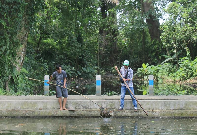 Satria Adam dan Irfandi dari GROVEK membersihkan kolam   Foto : Puguh Asmani